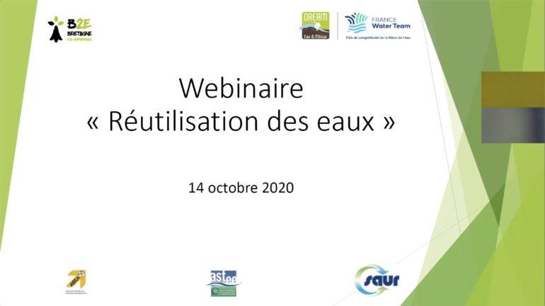 Webinaire Réutilisation des Eaux Usées - Bretagne Eco Entreprises